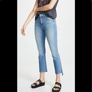 Mother high rise inside step crop fray jean